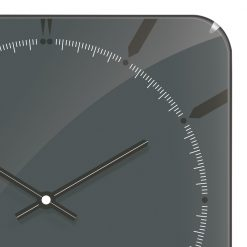 Zoomed in of Square Grey Wall Clock with Black Hands