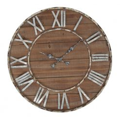 Round Wooden Wall Clock with Iron Hands and Numbers