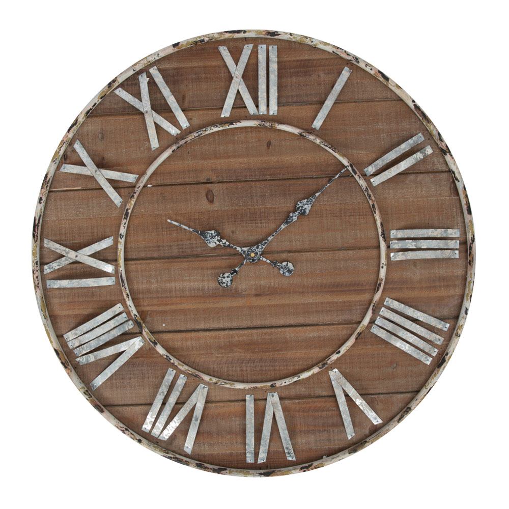 f2952abfa Round Wooden Wall Clock with Iron Hands and Numbers