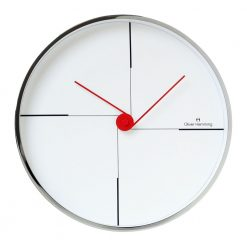 White Minimal 30cm Steek Wall Clock with Red Hands