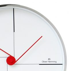 Close up of Minimal 30cm Steel Wall Clock with Red Hands