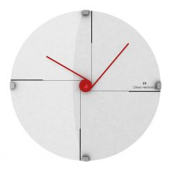 Minimal 30cm Domed Glass Wall Clock with Red Hands