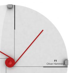 Zoomed in of Minimal 30cm Domed Glass Wall Clock with Red Hands