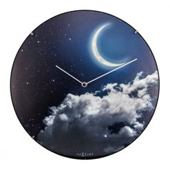 Round Wall Clock with New Moon Design