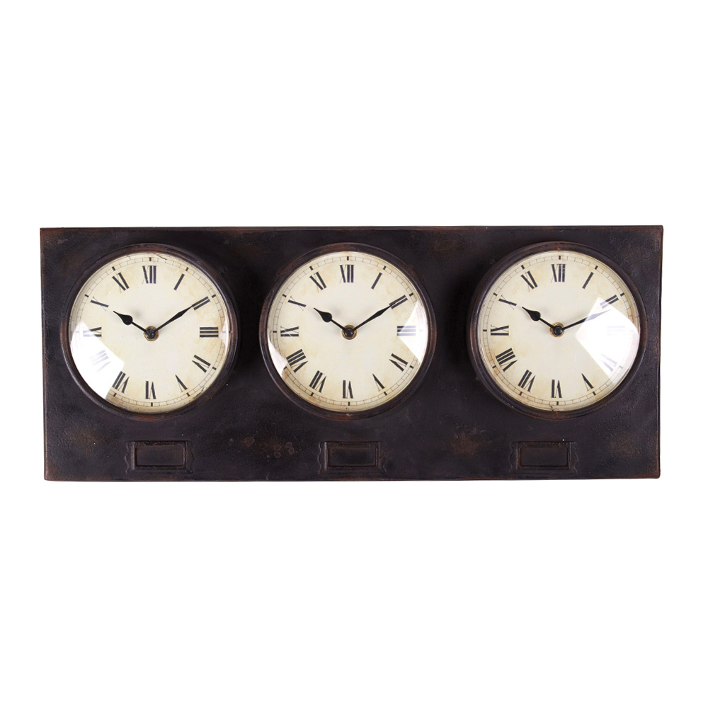 Buy Metal Triple Clock Online Purely Wall Clocks