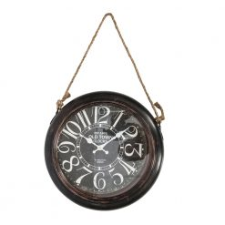 Round Old Town Wall Clock with Rope