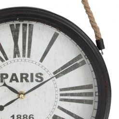 Zoomed in of Black Wall Clock with Rope