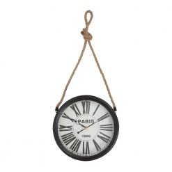 Round Black Rope Hanging Wall Clock with Black Hands