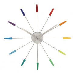 Colorful Pin Wall Clock with White Hand