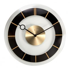 Round Black, White, Silver and Gold Wall Clock with Black Hands