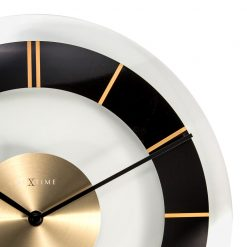 Zoomed in of Round Black, White, Silver and Gold Wall Clock with Black Hands
