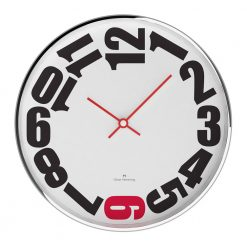 White Rounded 30cm Steel Wall Clock with Red Hands