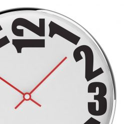 Zoomed in Rounded 30cm Steel Wall Clock with Red Hands