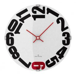 Rounded 30cm Domed Glass Wall Clock with Red Hands