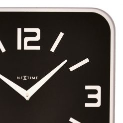 Close up of Black Wall Clock with Silver Hands
