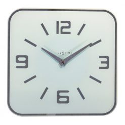 Square White Wall Clock with Black hands