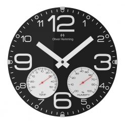 Black Sleek 30cm Domed Weather Station Wall Clock with White Hands