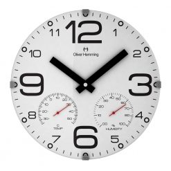 White Sleek 30cm Domed Weather Station Wall Clock
