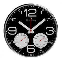 Black Round Sleek 30cm Weather Station Wall Clock