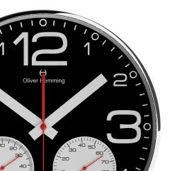 Zoomed in of Sleek 30cm Wall Clock with White Hands
