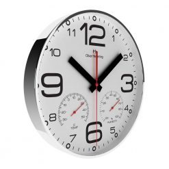 White Round Wall Clock with Black Hands