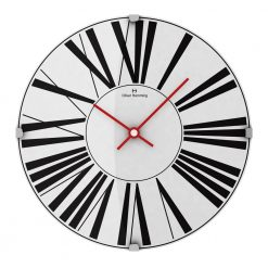 Round Black Glass Wall Clock with Red Hands