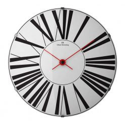 Stretched 37m Domed Glass Wall Clock with Red Hands