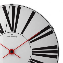 Zoomed in of Glass Wall Clock with Red Hands