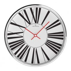 White Round Wall Clock with Red Hands
