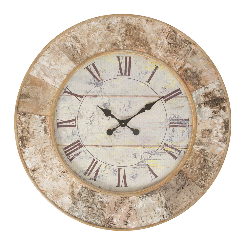 Buy talwood bark large wooden wall clock online purely wall clocks - Mondaine wall clock cm ...
