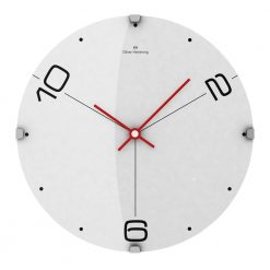Ten and Two 30cm Domed Glass Wall Clock with Red Hands
