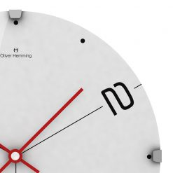 Close up of Ten and Two 30cm Glass Wall Clock with Red Hands
