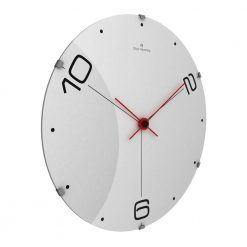 Ten and Two 37cm Glass Wall Clock with Red Hands