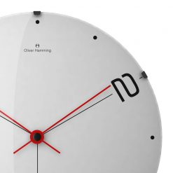 Zoomed in of Ten and Two 50cm Glass Wall Clock with Red Hands