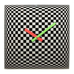 Square Wall Clock with Black and White Pattern