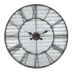 Metal Wall Clock with Blue Stripes