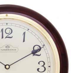 Zoomed in of Round Wall Clock with Black Hands