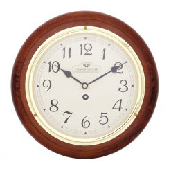 Round Brown Winston Small Station wall Clock with Black Hands