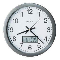 metallic gray round wall clock