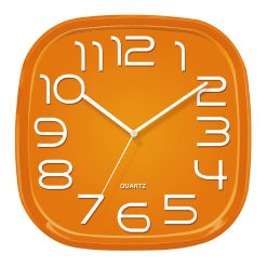 3d Orange Wall Clock with white hands
