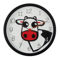 Round Clover Cow Wall Clock