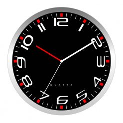 Round Modern Black Wall Clock with white hand