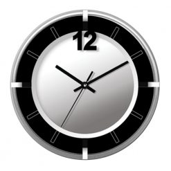Round Silver and Black Contemporary Wall Clock with black hand