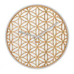 Round Bella Mirror White NeXtime Wall Clock with White Hands