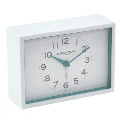 Mini White Silent Alarm Clock with Blue Hands