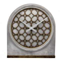 Silver Concrete Love NeXtime Wall Clock with Silver Hands
