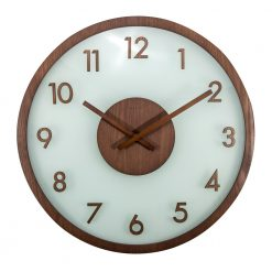 Round Wood Glass Wall Clock with Brown Hands