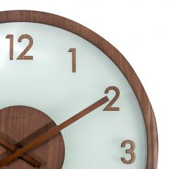 Close up of Wooden Glass Wall Clock