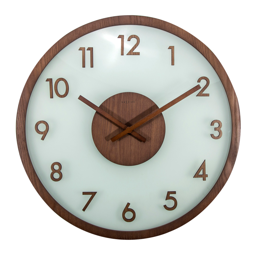 Buy Frosted Wood Glass Nextime Wall Clock Online Purely