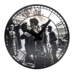 Round Wall Clock with Black Hands